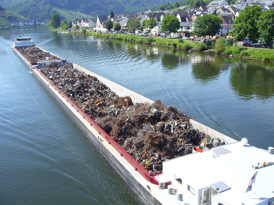 Mosel, River, Shipping, Transport Of Goods, Scrap