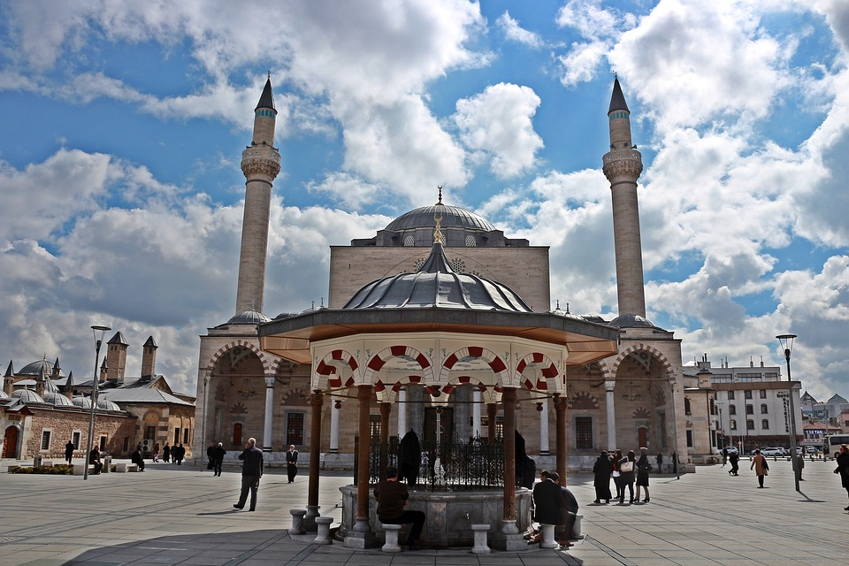 Mosque, Konya, Selimiye, Maulana, Square, Fountain