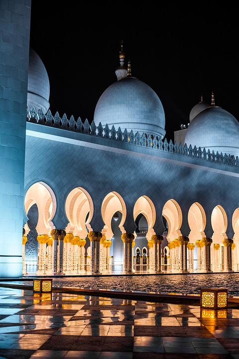 Uae, Abu Dhabi, Sheikh Zayed, Grand, Mosque, Night