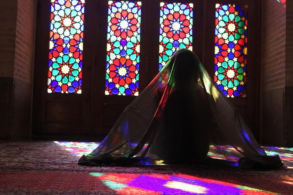 Stained Glass, Veil, Iran, Mosque, Reflections