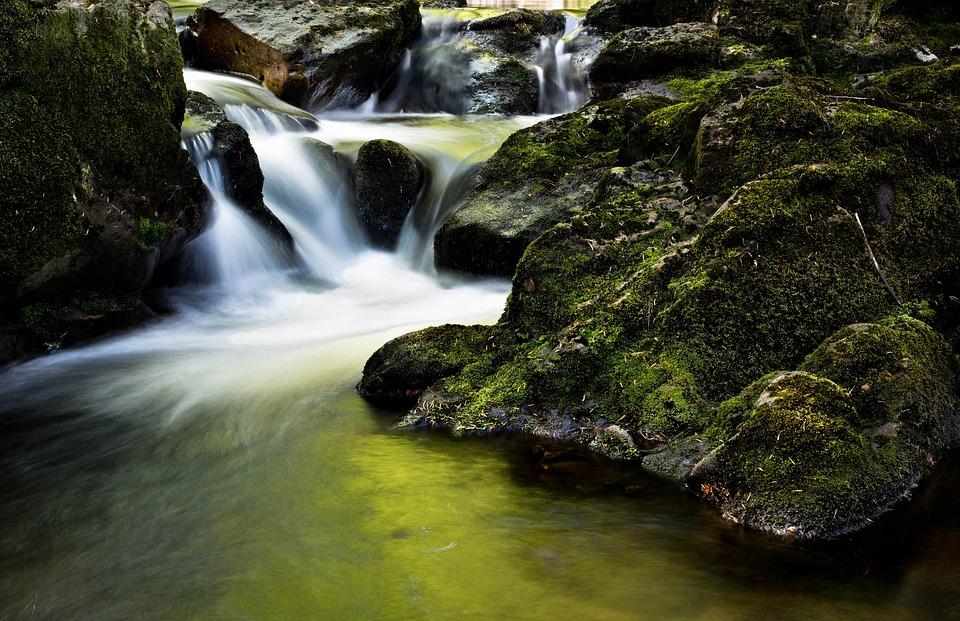 Stream, Brook, Rocks, Boulders, Moss, Water