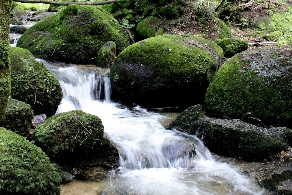 Water, Stones, Moss, Waterfall, Nature, River, Rock