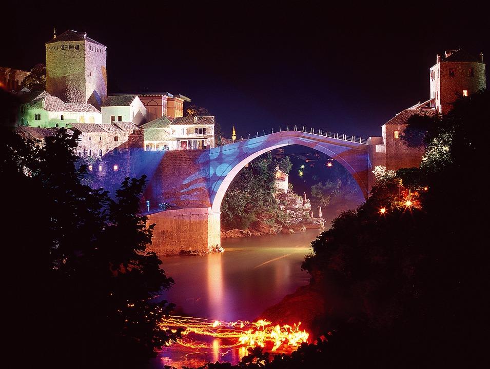 Old Bridge, Mostar, Bosnia, Night