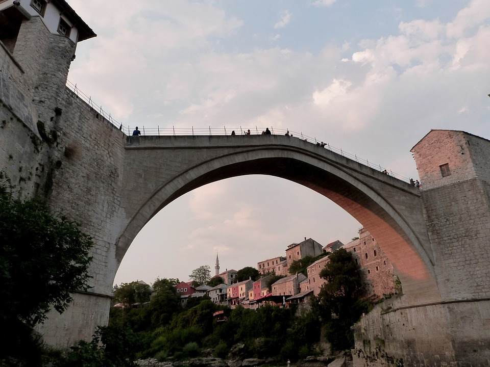 Mostar, Old Bridge, Old Town, Houses, Architecture