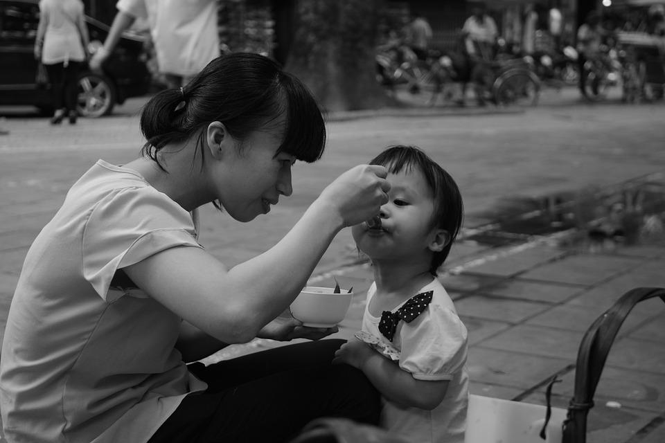 Vietnam, Mother, Child, Feed, On The Road, Mother-child