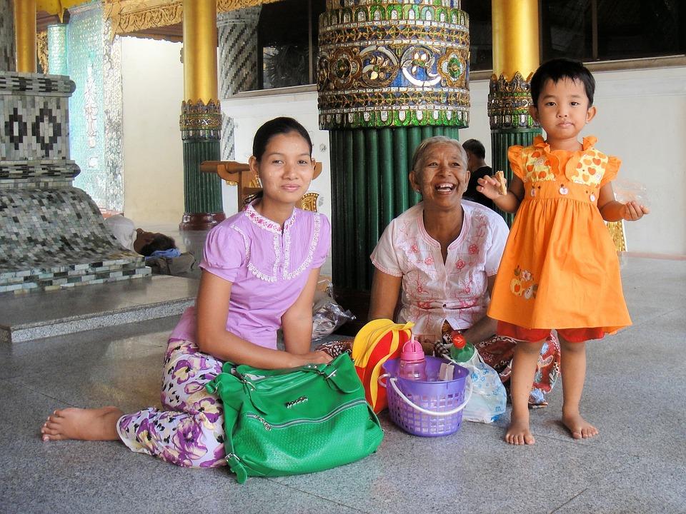 Myanmar, Family, Happy, Woman, Man, Joy, Mother