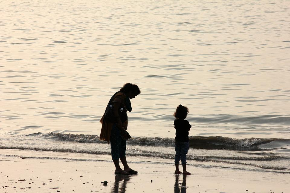 Mother, Daughter, Parenting, Man, Beach, Coast, Ocean