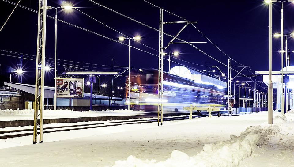Train Station, Train, Motion, Winter, Speed