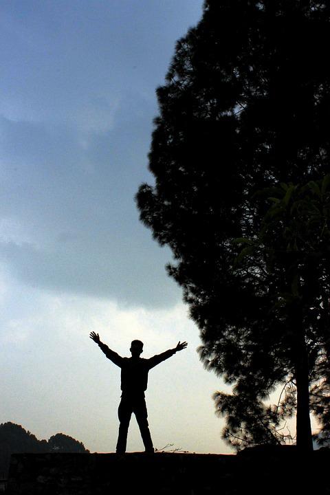 Silhouette, Man, Happy, Motivation, Inspiration