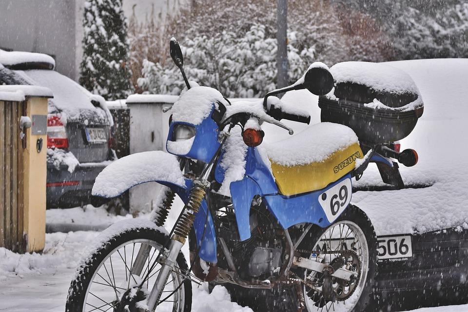 Motorcycle, Enduro, Motocross, Suzuki, Winter, Snowfall