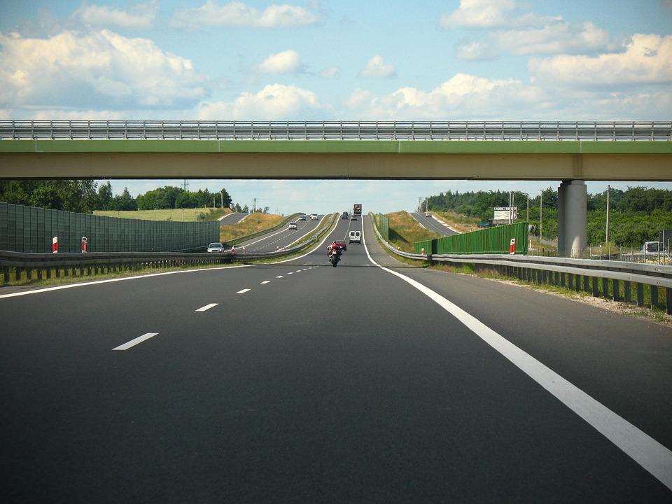Motocyklista, Motor, Autostrada, Polska, Droga