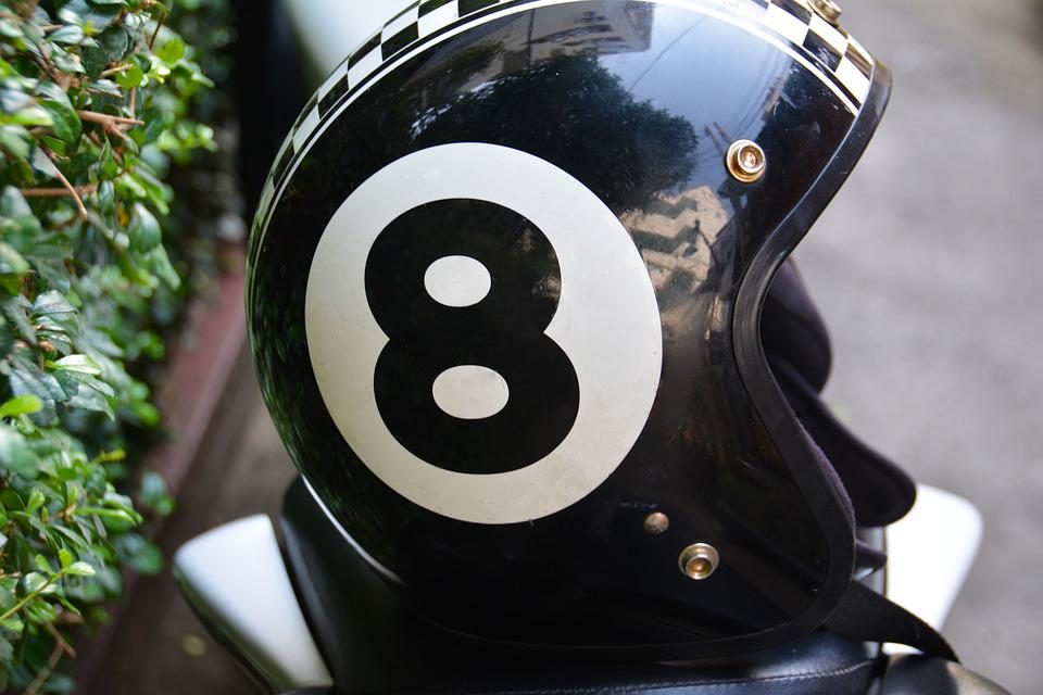 Eight, Motorbike Helmet, Lid, Motorbike, Number, Helmet