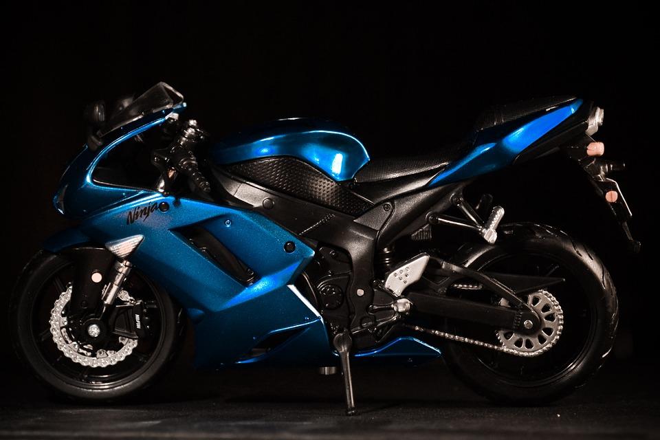 free photo motorbike motorcycle kawasaki blue ninja bike