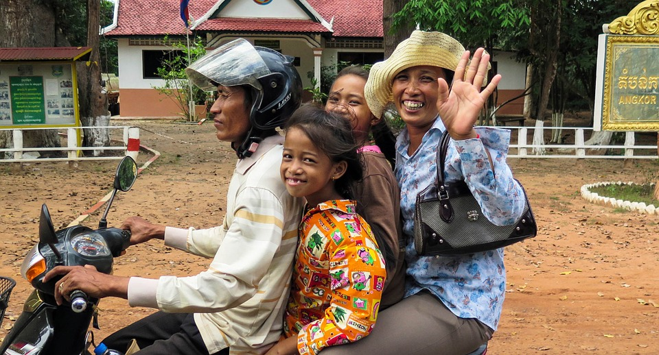 Cambodia, Asia, Siem Reap, Motorcycle, Family, Wave