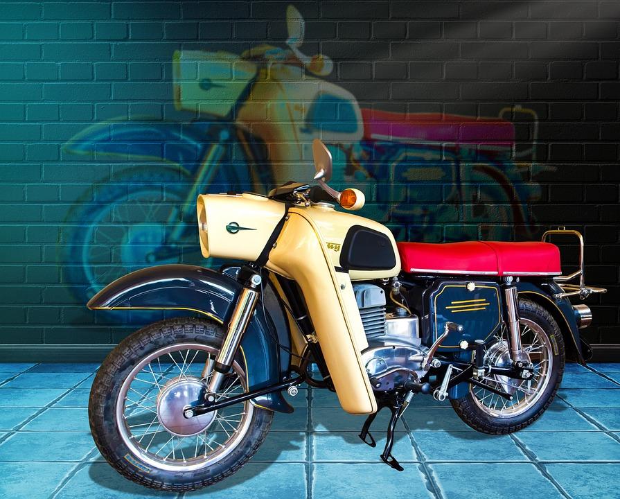 Motorcycle, East German Brand, Graffiti, Oldtimer