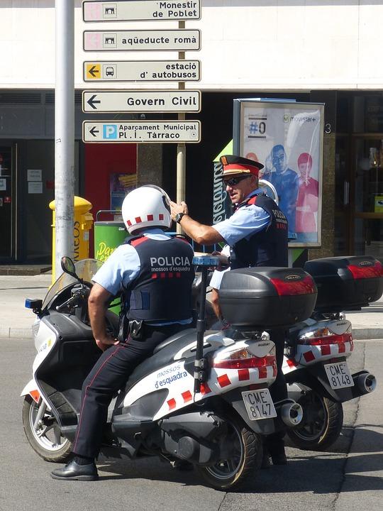 Police, Indications, Motorcycle, Guard, Tarragona