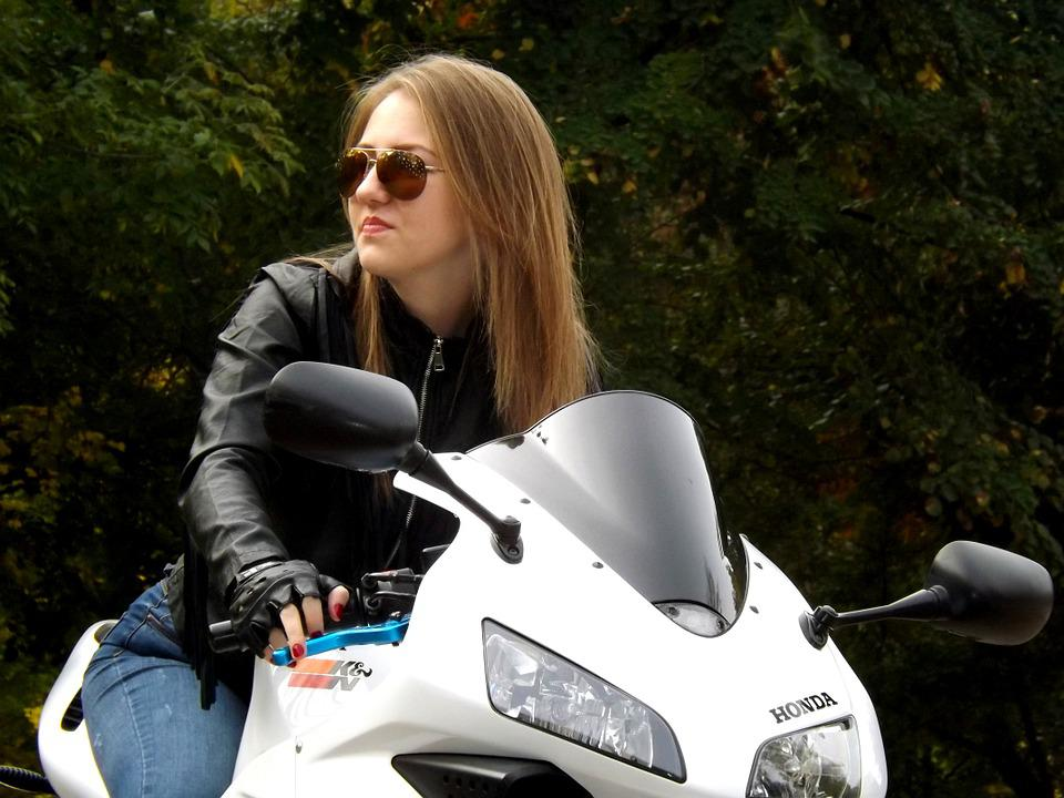 Girl, Motorcycle, Leather Jacket, Ride, Biker, Blonde