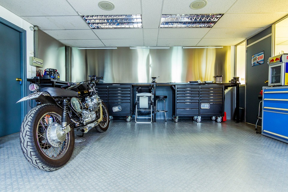 Motorcycle, Motorbike, Garage, Workshop, Tools