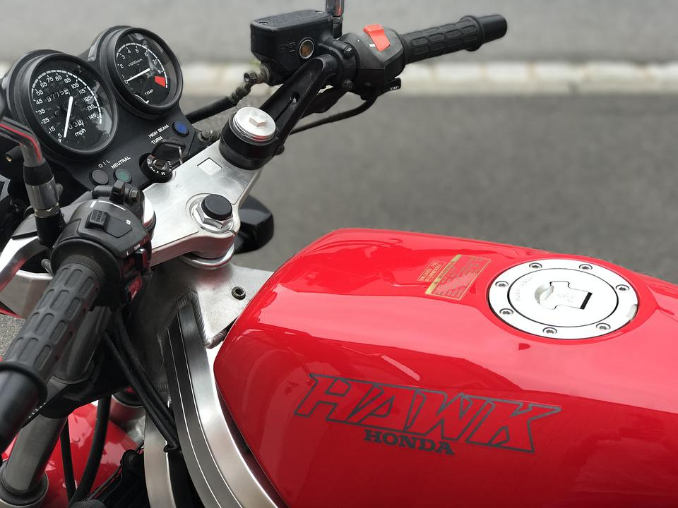 Motorcycle, Handlebars, Two Wheeled Vehicle, Red, Bike