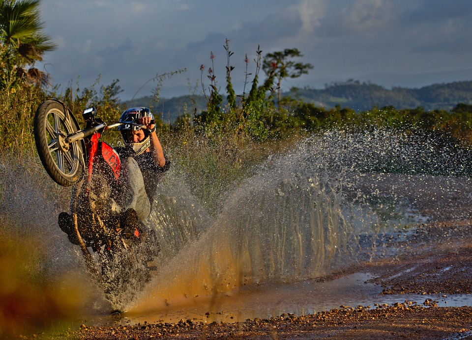 Motorcycle, Splash, Water, Nature, Outdoors
