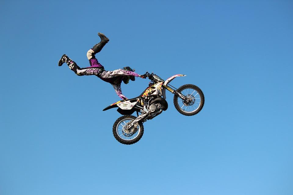Motorcycle, Sky, Stunt, Jump