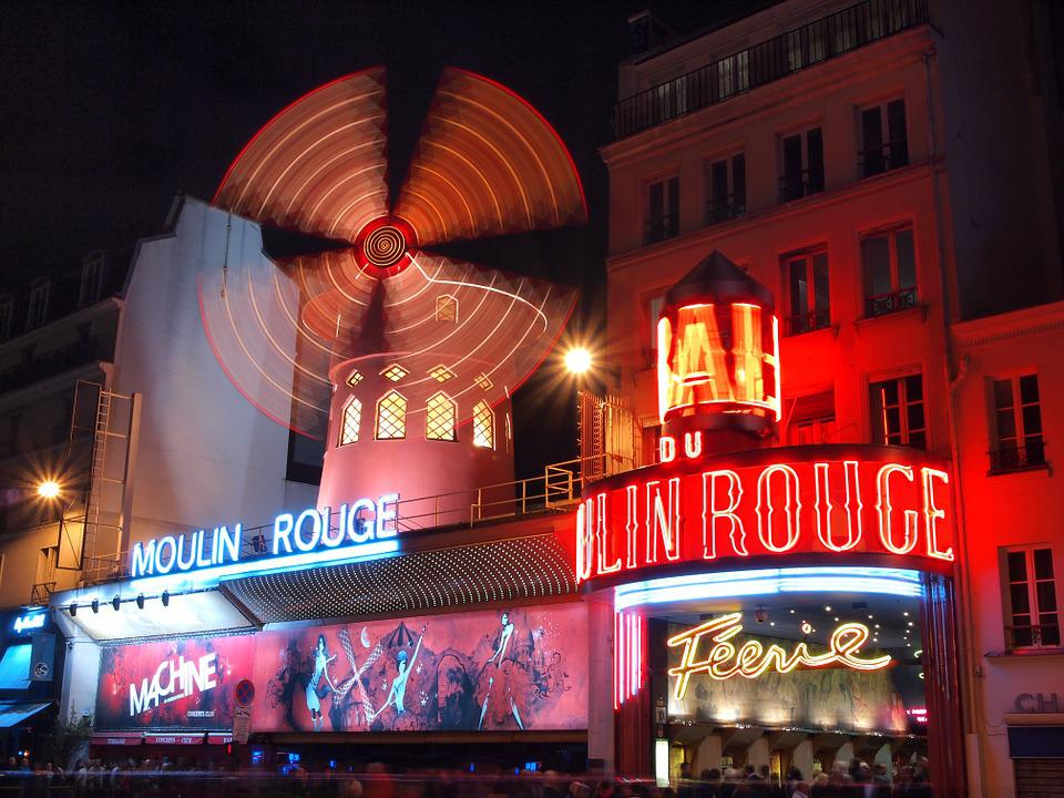 France, Paris, Moulin Rouge, Night View, Windmill