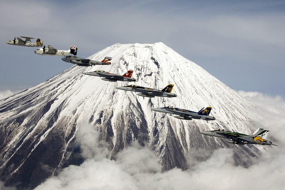 Formation Flight, Fujiyama, Mount Fuji, Fuji, Volcano