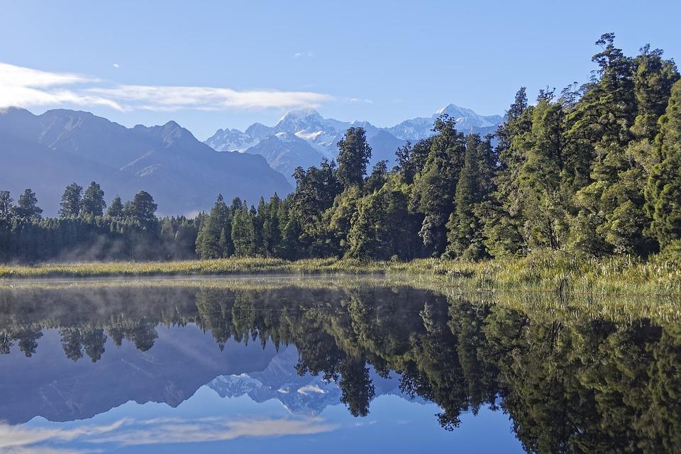 New Zealand, Lake Matheson, Mount Tasman