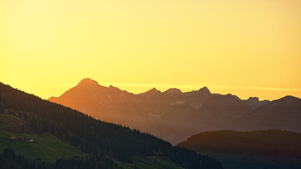 Panorama, Sunset, Dawn, Nature, Mountain, Alpine