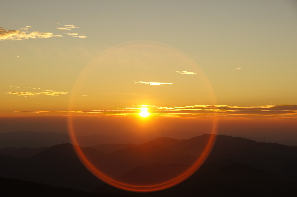 Sunrise, Mountain, Aperture, Ring, Against Sun