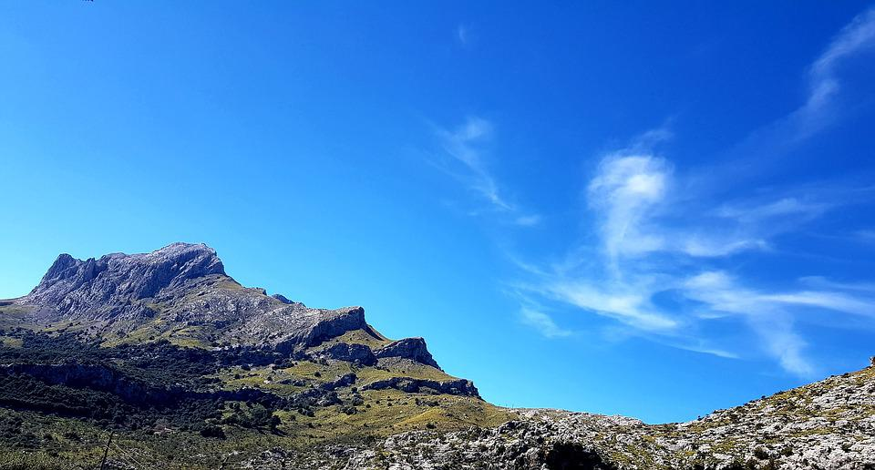 Mountain, Mountains, Sky, Blue, Cloud Cover, Panorama