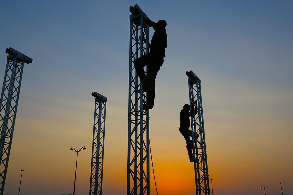 Silhouette Teamwork, Trust, Mountain, Climbing