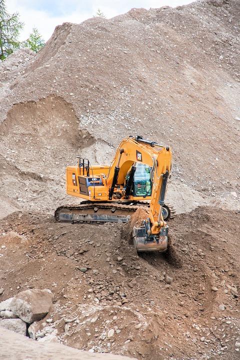 Excavators, Mountain, Debris, Earth, Work