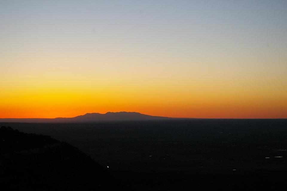 Mountain, Sunset, Glow, Orange, Sky