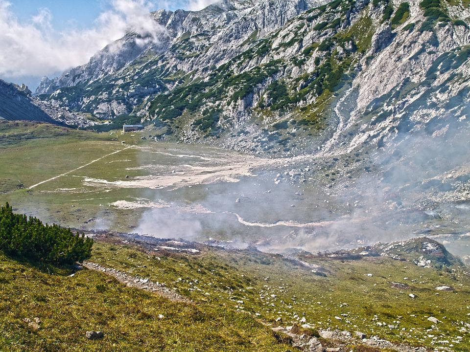 Grass, Valley, Fog, Landscape, Nature, Mountain, Sky