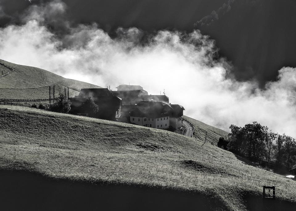 Houses, Rural, Alps, Mountain, Fog, Doubled, House