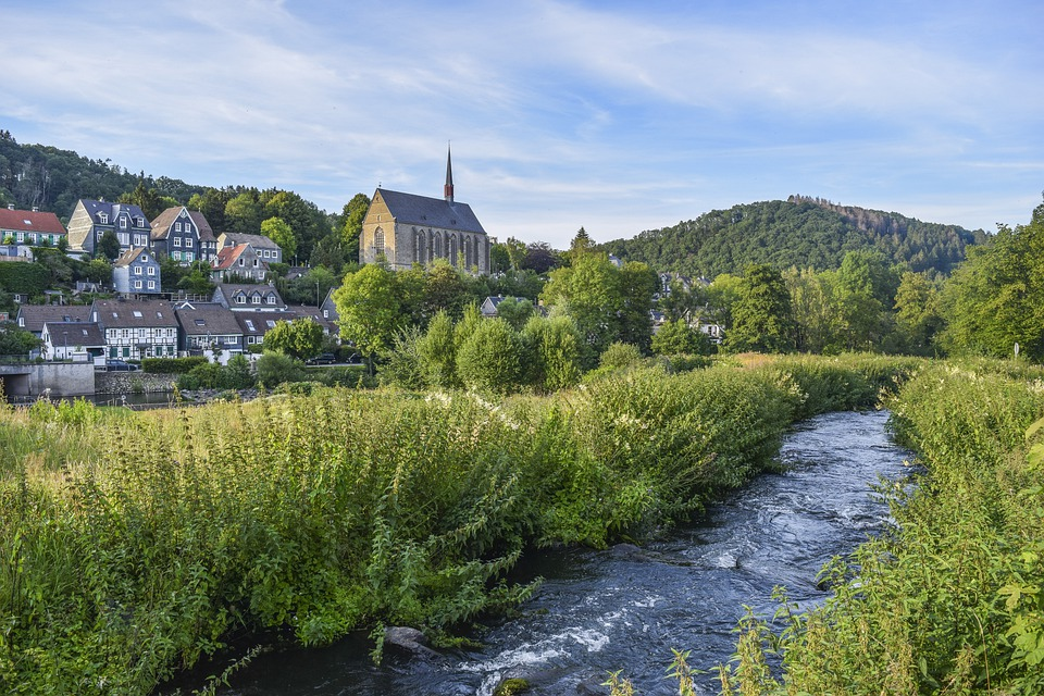 Stream, Mountain, Village, Houses, Buildings, Town