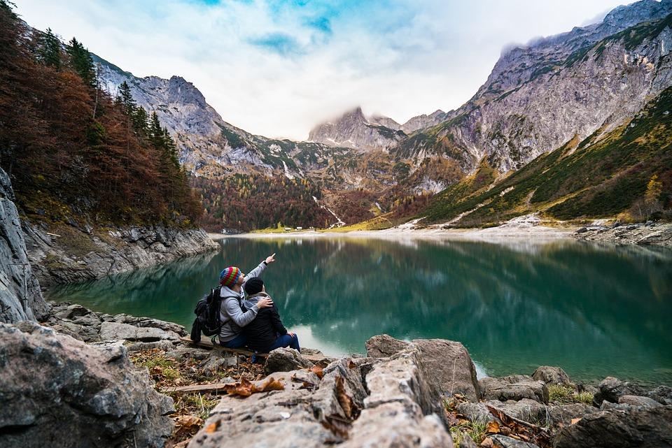 Adventure, Mountain Lake, Alps, Couple, Daylight