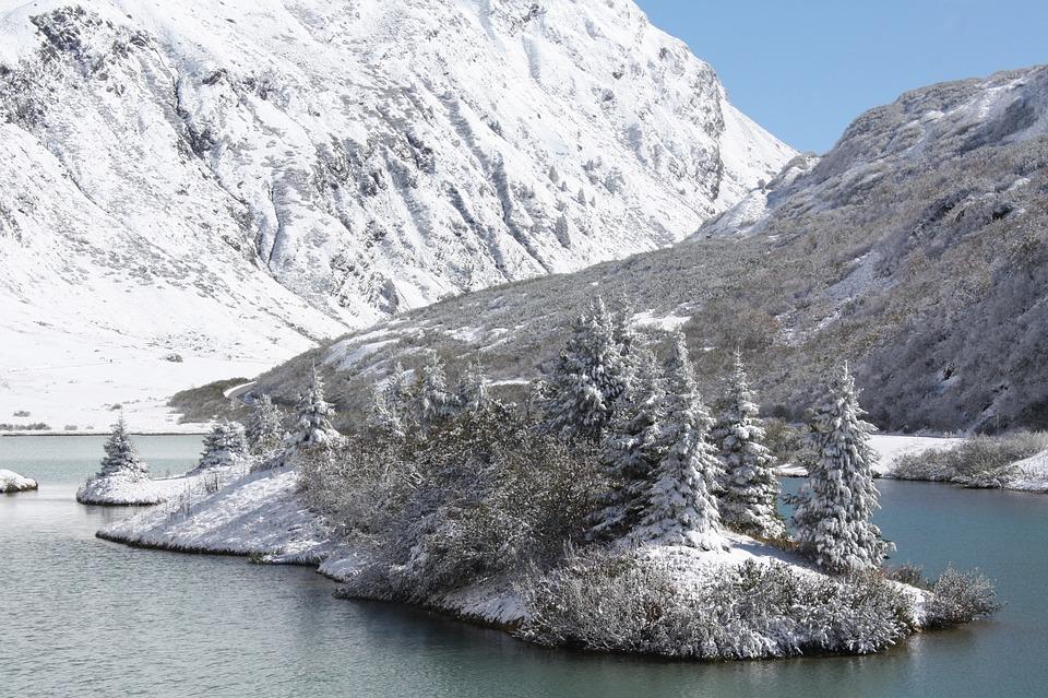 Mountain Lake, Winter, Island, Snow, Mountain, Alpine