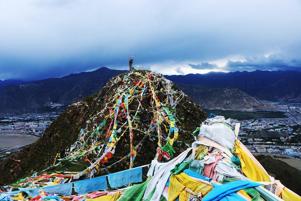 China, Lhasa, Mountain, Color Prayer Flags