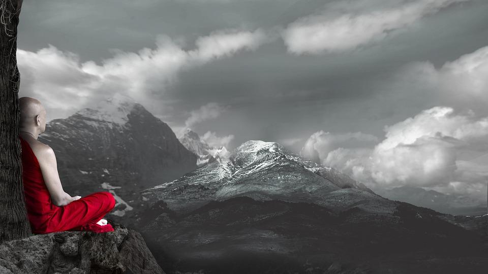 Meditation, Monk, Snow, Mountain, Nature, Winter
