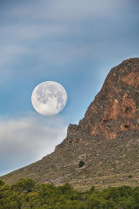 Mountain, Moon, Sky, Clouds, Nature, Landscape