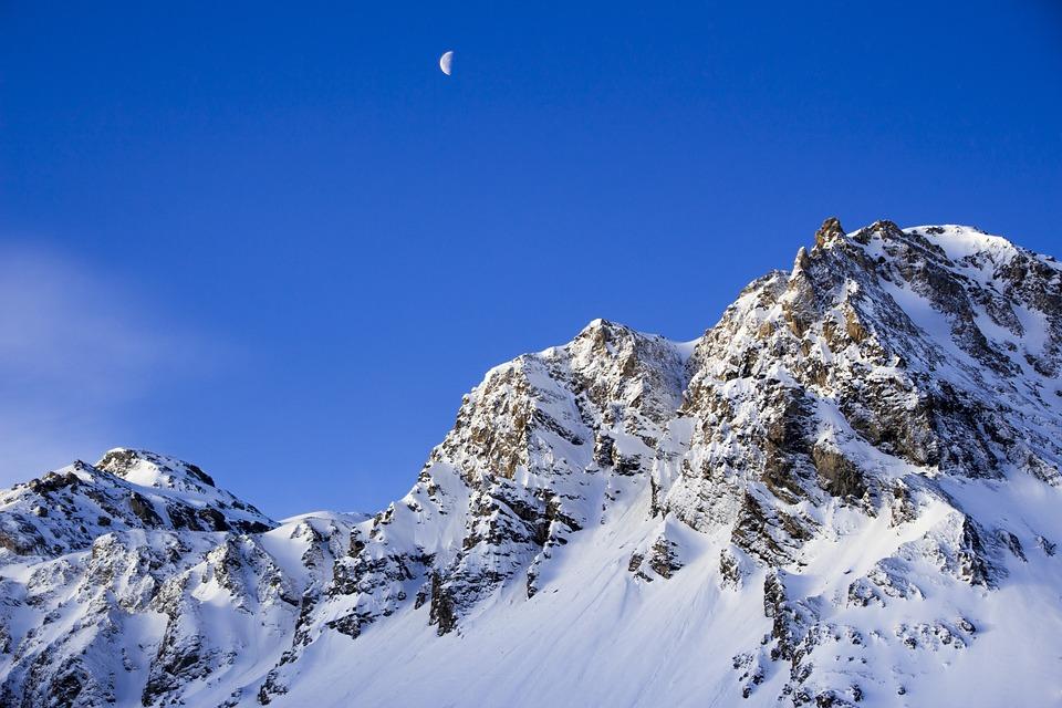 Blue, Moon, Mountain, Sky, Snow, Winter