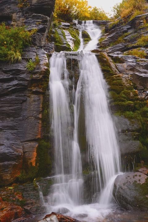 Waterfall, Moss, Water, Mountain, Stream, Nature, Rock