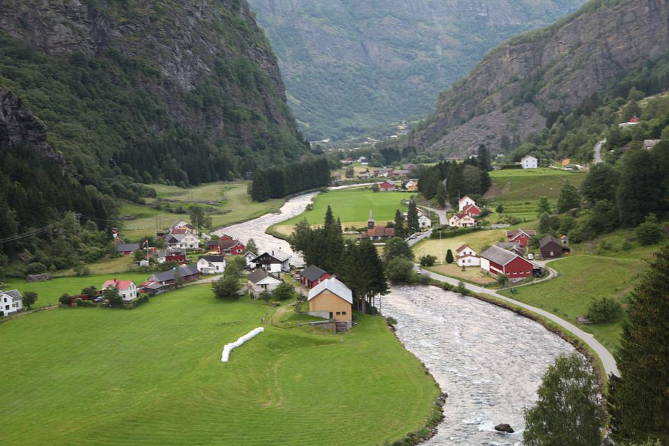 Norway, Fjord, Village, Panorama, Footpath, Mountain