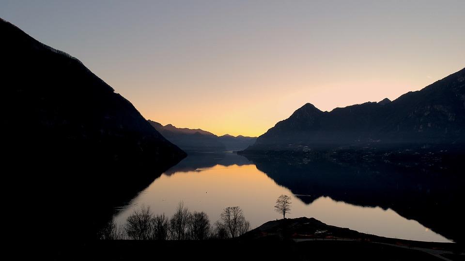 Sunset, Panoramic, Landscape, Mountain