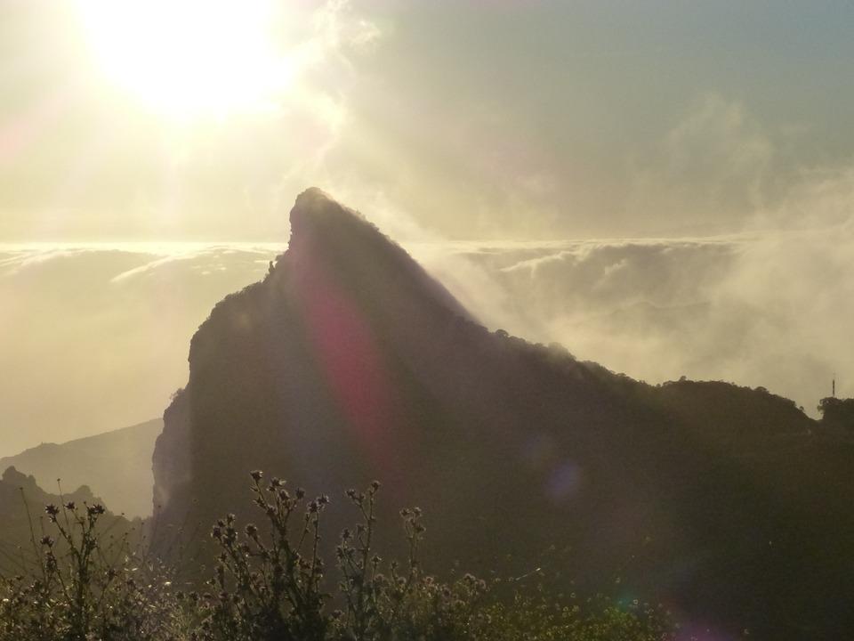 Mountain, Mountain Peak, Back Light, Sun, Mountains