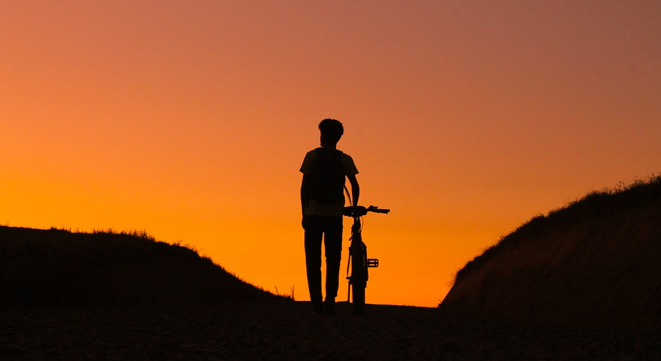 Silhouettes, Person, Bicycle, Mountain, Sunset
