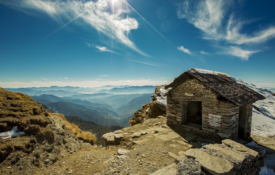 House, Mountain Range, Mountains, Outdoors, Rocks