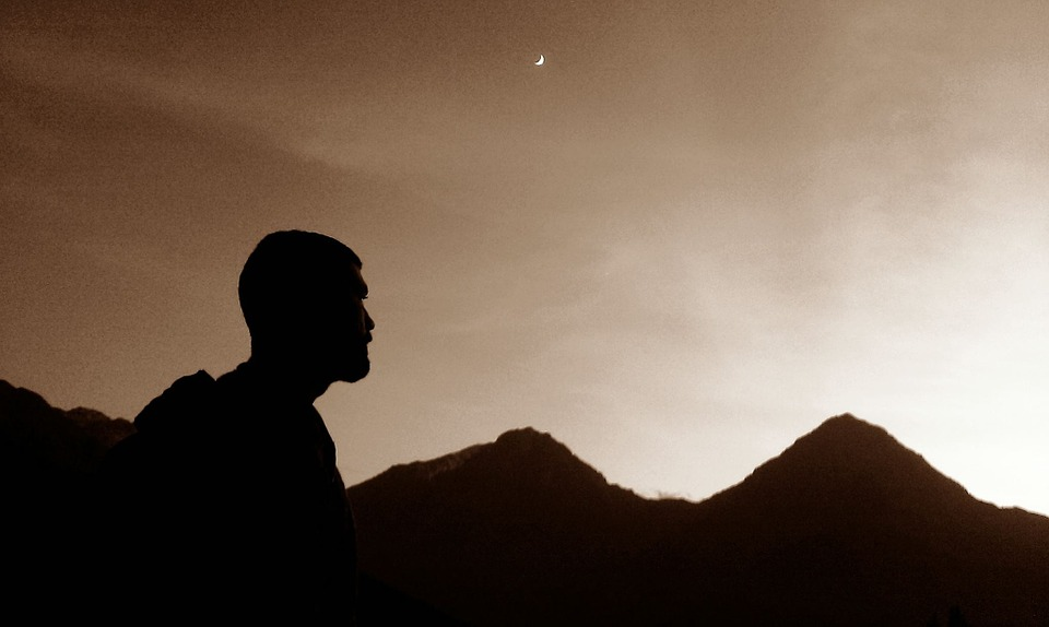 Mountain, Shadow, Man, Silhouette